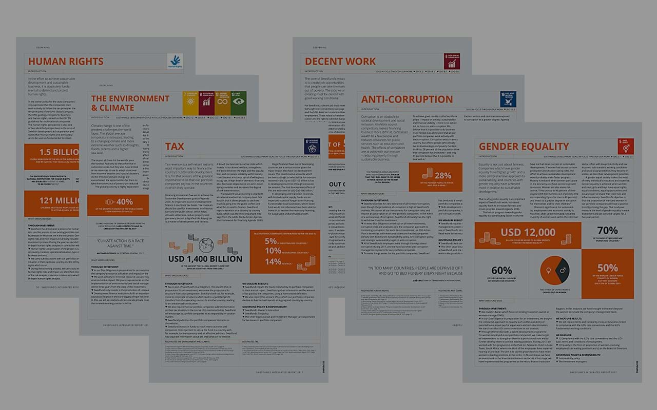 "Our starting point for sustainable business is to analyse and manage business opportunities and risks within what are for us central sustainability dimensions. Our fact sheets illustrate our work on these issues. You find them under ""Publications""."